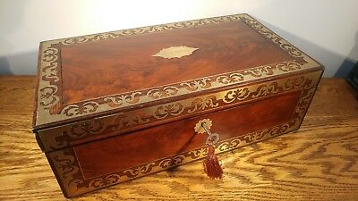 MAGNIFICENT VICTORIAN WRITING SLOPE WITH BRASS INLAY & SECRET DRAWERS  c1845