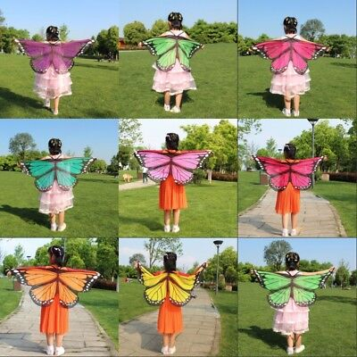 Kids Girls Soft Cloth Fabric Butterfly Wings Costume Wrist Straps Cape Cosplay