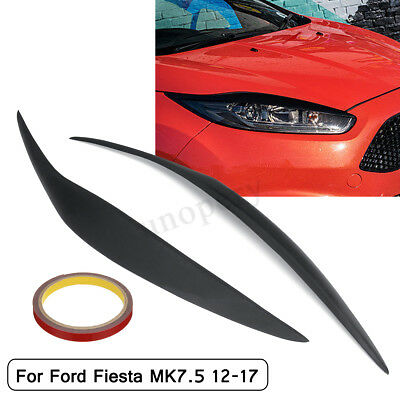 Car Front Headlight Facelift Eyebrows Eyelids For Ford Fiesta MK7.5 Matte Black