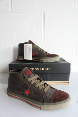 fe22976f9614 Converse All Star One Star Leather Chucks Chocolate Brown OX 1S859 Red UK5.5