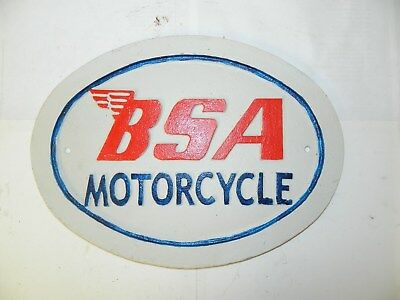 BSA MOTORCYCLE AUTOMOBILIA SIGN RED/WHITE AND BLUE GOOD CONDITION ref M44