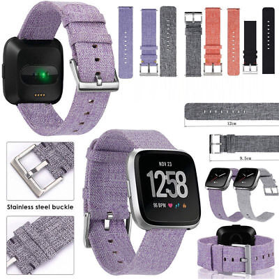 Woven Fabric Wrist Strap Watch Band Classic Stainless Buckle For Fitbit Versa