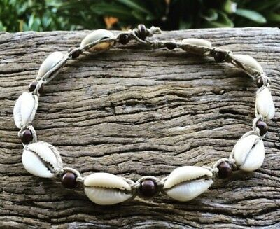Hand Made Hemp Macrame Necklace with Cowrie Shells& Timber Beads