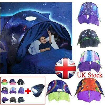 UK Kids Unicorn Dream Tents With Light Set Foldable House Bed Pop Up Tent Gift