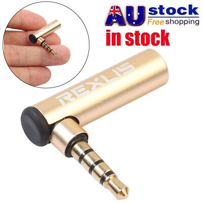 1PC 3.5mm Male to Female Right Angle Audio Adaptor Extension Headphone Jack AU