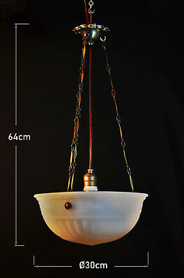 Antique Authentic Deco opaline milk glass & bronze Ceiling light lantern