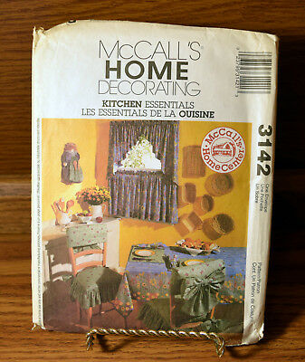 McCalls 3142 Kitchen Essentials Sewing Pattern Curtains Tablecloth Placemat