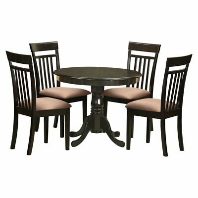 East West Furniture Antique 5 Piece Pedestal Round Dining Table Set with Capri