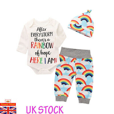UK Newborn Baby Rainbow Romper Tops Girl Boy Jumpsuit Pants Outfits Clothes Set