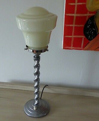"""Lovely Art Deco Electric Lamp with Glass Shade - Approx 18"""" (46cm) high"""