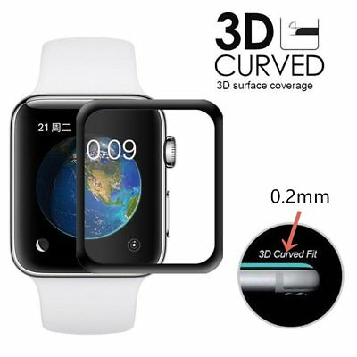 For Apple Watch Series 3 Tempered Glass Film Full Coverage 3D Screen Protector&4