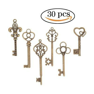 Lot of 30 Skeleton Keys Antique Bronze Vintage Old Look Wedding Decor Santa