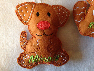 Handmade Gingerbread Man Woman Pets Animals Cat Dog Christmas Tree Decoration