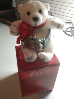 Coca-Cola - Polar Bear with Watch, leather band  - NEW IN BOX