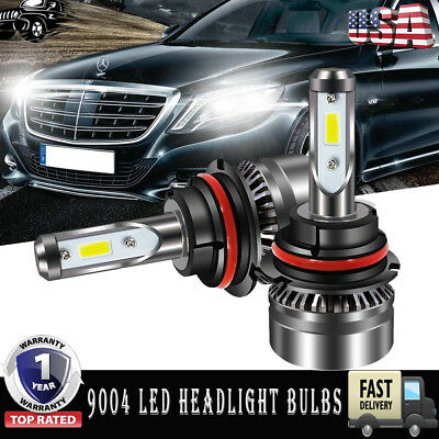 2Pcs COB CHIPS 9004 HB1 LED Headlight Kit 120W 12000LM High/Low Beam Bulbs 6500K