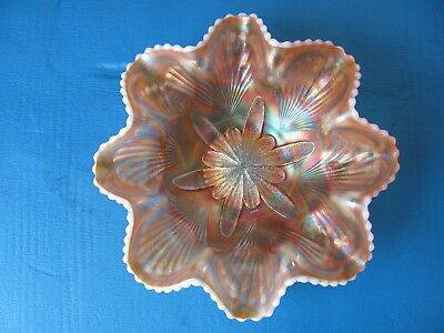 Carnival Glass with Milk Glass Bowl Vintage Large