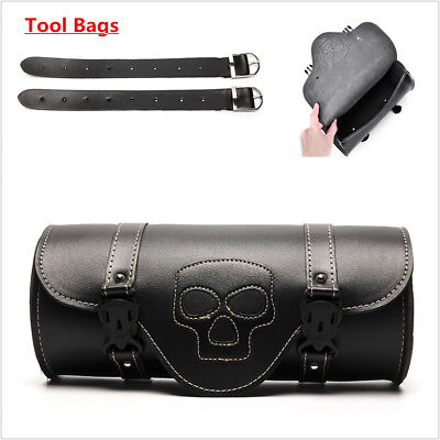 "1PCS Black PU Leather Motorcycle 12"" Front Rear Fork Tool Bag Luggage Saddle Bag"