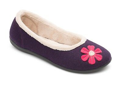 Padders HAPPY Ladies Ballerina Memory Foam Extra Wide E Fitting Slipper Purple