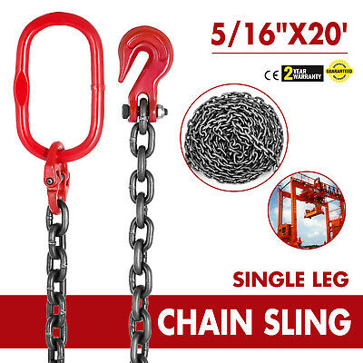"5/16""x20' GRADE 80 Chain Sling SOG Single Leg Clevis Oblong Grab Lifting Rigging"