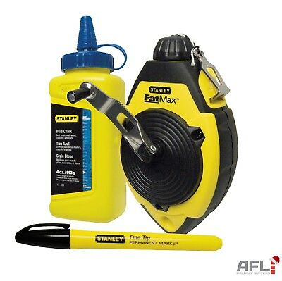 Stanley FatMax® Chalk Line Set 30m with Reel, Refill and Black Marker Pen