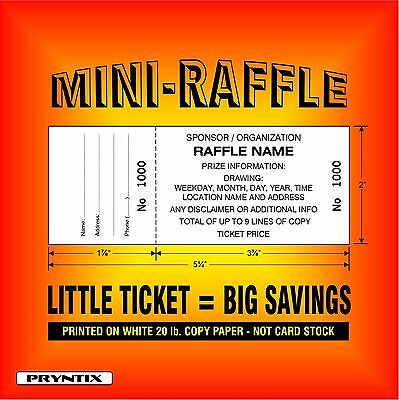 1000 MINI-RAFFLE TICKETS - Custom Printed, Numbered & Perforated Copy Paper