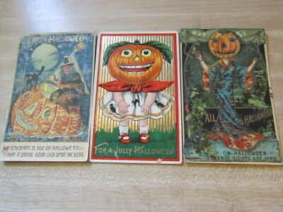 Vintage Lot Of 1900's/ 1920's 3 Witchcraft / Halloween Post Cards From Germany