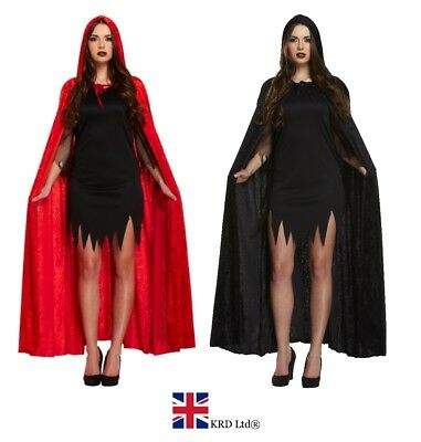 Adult LONG VELVET CLOAK Vampire Dracula Halloween Fancy Dress Costume Cape UK