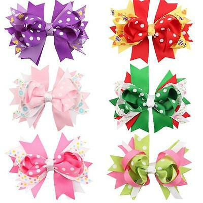 Girls Baby Christmas Grosgrain Hair Bow Alligator Hair Clip Hair Accessories LH