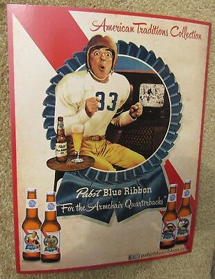 Pabst Football Beer Cardboard Sign 8.5 x 11 NEW EXC PBR Blue Ribbon W/ Easel