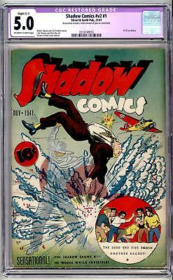 ShADOW COMICS VOL #2, #1, 1941 CGC WHITE/OW 5.0  C-1   SCARCE ! Free Shipping