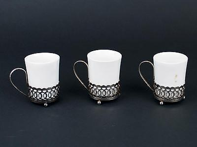 Enoch Wedgewood Set of 3 White Espresso Cups and silver holder Turnstall LTD.