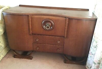 1950's Vintage Sideboard -Lovely veneered curved doors and drop-down drinks door