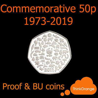 *Commemorative 50p Fifty Pence Coins 1973-2019 PROOF & BU Only - select year*