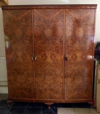 Large Antique Vintage circa 1930s Burr Walnut Art Deco Wardrobe