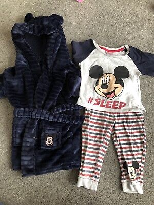 Mickey Mouse Pyjamas And Dressing Gown 12-18 Months
