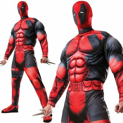 Adult Official Deluxe Marvel Deadpool Muscle Chest Fancy Dress Costume Cosplay