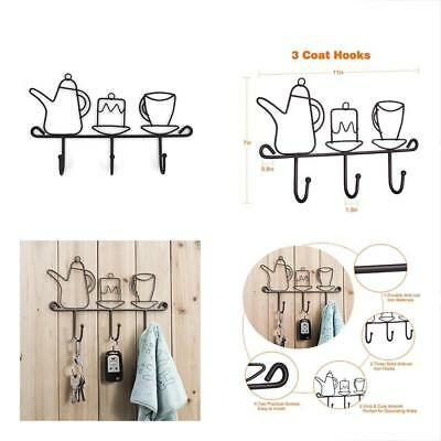 OMMITO Key Hooks Wall Mounted Rack,11 Inches Iron 3 Kitchen Home Restaurant Keys