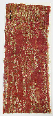 13-15C Antique Textile Fragment - Dyeing and Weaving, Gold Embroidery