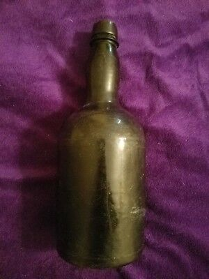 Antique Black Glass Rum/Beer Bottle; 3-Mold Bristol; 1800s