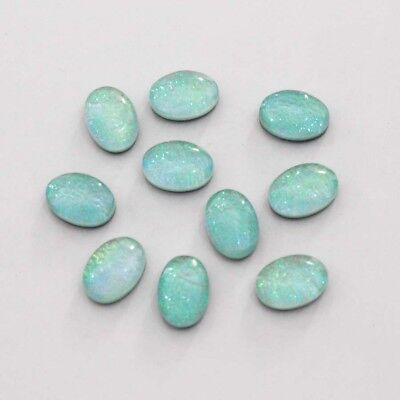 """Free Shipping """"triplet Opal"""" Radiant Oval Lab-Created Gemstone Cab 10 Pc Lot"""