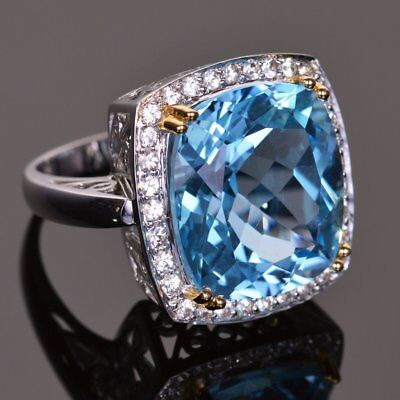 Cushion Cut Aquamarine 5.50Ct 14k White Gold Engagement & Wedding Certified Ring