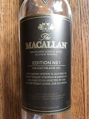 RARE The Macallan Scotch Whiskey Empty Bottle 750 ML Edition NO.1 Brown Label