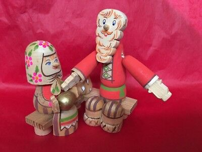 """Mrs & Articulated Mr Russian Hand Painted Ornament 6"""" X 5"""". Tagged Made In USSR"""