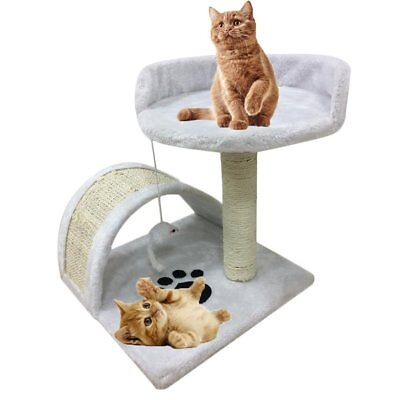 Small Cat Bed Scratching Post Activity Tree Sisal Scratcher Play Toy Milky white
