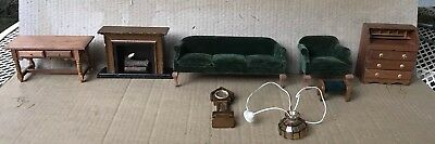 Vintage Dollhouse Living Room Set Lot of 8 Couch Chair Fireplace Lamp Desk Table