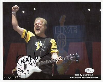 RANDY BACHMAN HAND SIGNED 8x10 PHOTO     GREAT IN CONCERT POSE     BTO       JSA