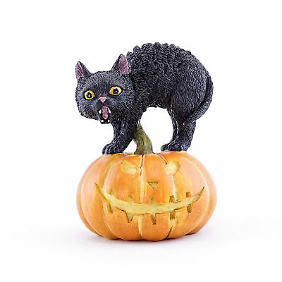 Miniature Dollhouse FAIRY GARDEN - Black Cat On Jack O' Lantern - Accessories