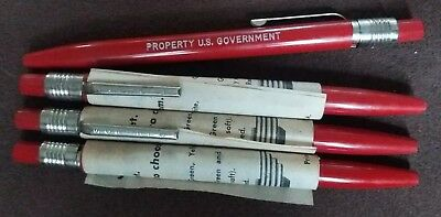 Lot of 4 FOUR Vintage Mechanical Grease Pencils Scripto US Government RED