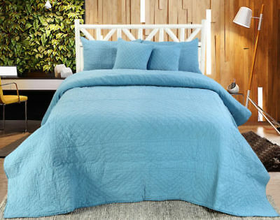 Chloe Handmade Quilted Bedspread And  Cover Sets (Sold Seperately)-Blue