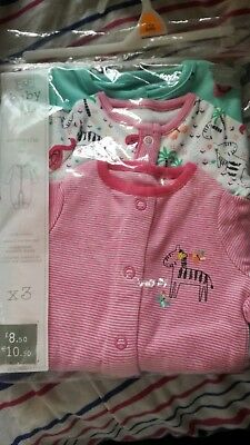 Girls Tiny Baby Sleepsuits